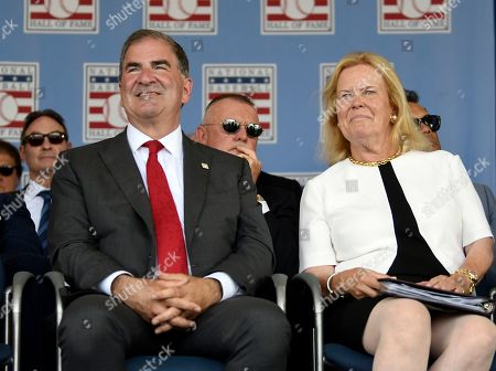 National Baseball Hall of Fame president Tim Mead, left, and chair Jane Forbes Clark attend an induction ceremony at the Clark Sports Center, in Cooperstown, N.Y