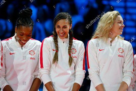 Eboni Usoro-Brown, Geva Mentor and Joanne Harten of England during the medal presentation