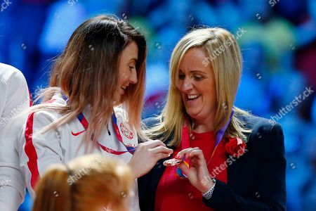 England Head coach Tracey Neville and Jade Clarke