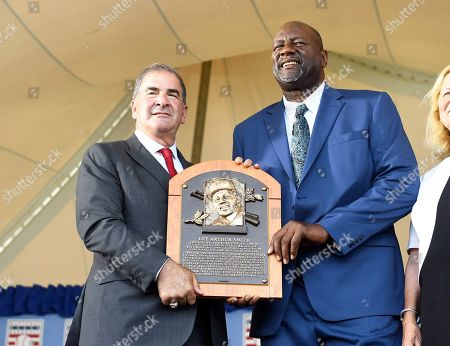 Stock Picture of Tim Mead, Lee Smith. Tim Mead President of the National Baseball Hall Of Fame and Museum,left, stands with inductee Lee Smith, during an induction ceremony at the Clark Sports Center, in Cooperstown, N.Y