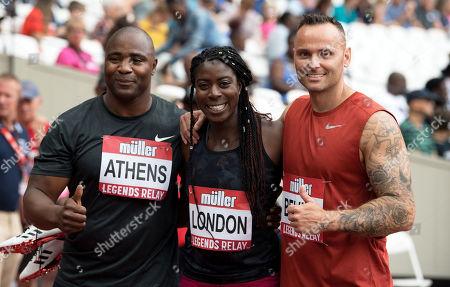Mark Lewis-Francis, Christine Ohuruogu and Andy Turner