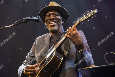 Stock Photo of US blues artist Keb'Mo' performs on stage during a concert at the Blue Balls Festival in Lucerne, Switzerland, 21 July 2019. The music event runs from 19 to 27 July.