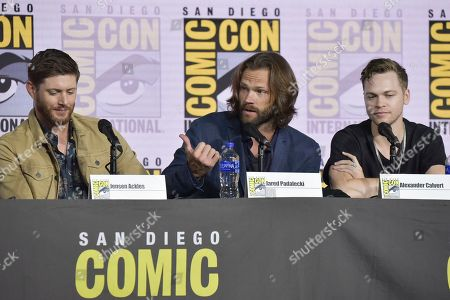 "Jensen Ackles, Jared Padalecki, Alexander Calvert. Jensen Ackles, from left, Jared Padalecki and Alexander Calvert participate in the ""Supernatural"" panel on day four of Comic-Con International, in San Diego"