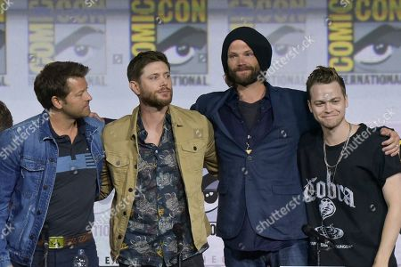 "Misha Collins, Jensen Ackles, Jared Padalecki, Alexander Calvert. Misha Collins, from left, Jensen Ackles, Jared Padalecki and Alexander Calvert participate in the ""Supernatural"" panel on day four of Comic-Con International, in San Diego"