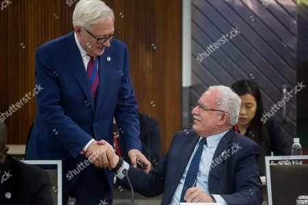 Rusia's vice Minister of Foreign Affairs Serguei Ryabkov (L) shakes hand with his Palestina counterpart Riyad al-Maliki during a meeting of the Non-Aligned Movement (NAM) coordination bureau, in Caracas, Venezuela, 21 July 2019.