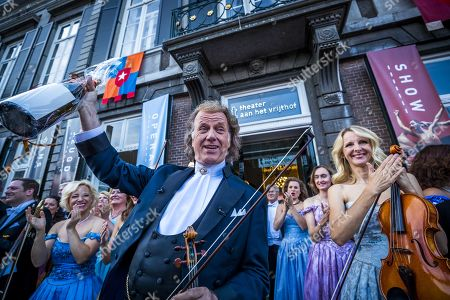 Andre Rieu performs with his orchestra at the Vrijthof, Maastricht, The Netherlands, 21 July 2019. It is the hundredth time that Rieu gives a concert on the square in his hometown.