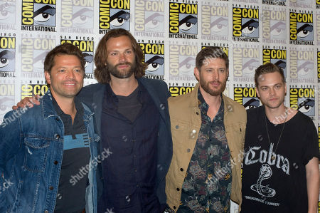 (L-R) Misha Collins, Jared Padalecki, Jensen Ackles, and Aexander Calvert of Supernatural television series, pose for a family photo during a press conference at Comic Con International 2019 in San Diego, California, USA, 21 July 2019.