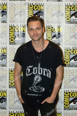 Canadian actor Alexander Calvert of Supernatural television series, poses for a photograph during a press conference at Comic Con International 2019 in San Diego, California, USA, 21 July 2019.