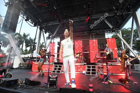 Editorial photo of Fitz and The Tantrums in concert at The Bayfront Park Amphitheatre, Miami, USA - 20 Jul 2019