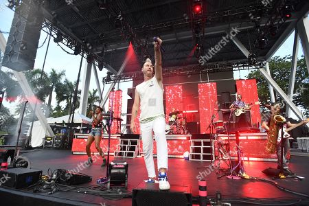 Editorial image of Fitz and The Tantrums in concert at The Bayfront Park Amphitheatre, Miami, USA - 20 Jul 2019