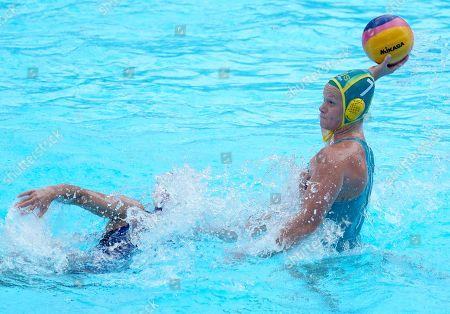 Rowie Webster of Australia (R) in action against Alena Serzhantova of Russia (L) during their Women's Water Polo Quarterfinal match at the FINA Swimming World Championships 2019 in Gwangju, South Korea, 22 July 2019.