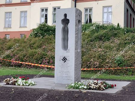A swastika was sprayed on the memorial for the 22 July terror attack vicitins, in Tonberg, Norway, 22 July 2019. On 22 July 2011, Fjotolf Hansen whose name back then was Anders Breivik, killed 77 people during a terror attack in Oslo and massacre on Utoya island.