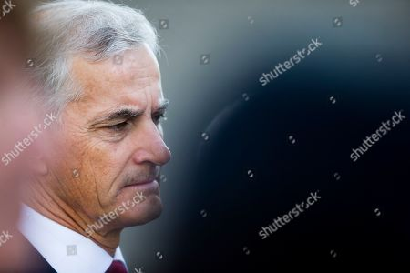 Stock Image of Leader of Labour party Jonas Gahr Stoere attends a memorial ceremony for the victims killed in the 2011 Norway attacks, in Governmental square, central Oslo, Norway, 22 July 2019. Norway marks the eighth anniversary of the bombing of the government buildings in Oslo and the shooting at a summer camp on Utoya island, in which 77 people were killed on 22 July 2011. Convicted Norwegian right-wing extremist Anders Behring Breivik is serving a 21-year sentence for the terrorist attacks.