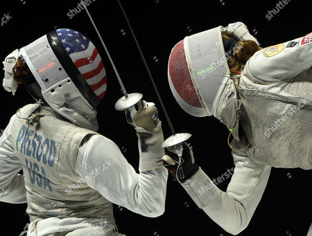 Stock Image of Nzingha Prescod (L) of the US fights against Pauline Ranvier of France during the US vs. France match for the third place of women's foil team competition of the FIE World Fencing Championships in Budapest, Hungary, 22 July 2019.