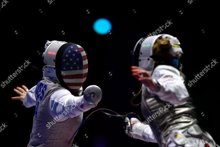 Stock Picture of Nicole Ross (L) of the United States and Inna Deriglazova of Russia fight in the women's team foil semi-final match of the FIE World Fencing Championships in Budapest, Hungary, 22 July 2019.