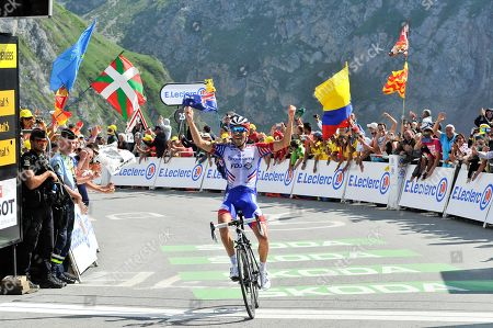 Thibaut Pinot (FRA) pictured passing the finish line during Tour de France cycling race fourteenth stage over 117,5 kilometers (73 miles) with start in Tarbes and finish at Tourmalet