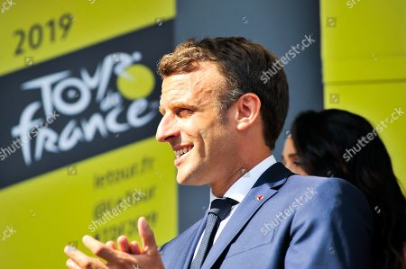French President Emmanuel Macron pictured during podium ceremony at Tourmalet after Tour de France cycling race fourteenth stage