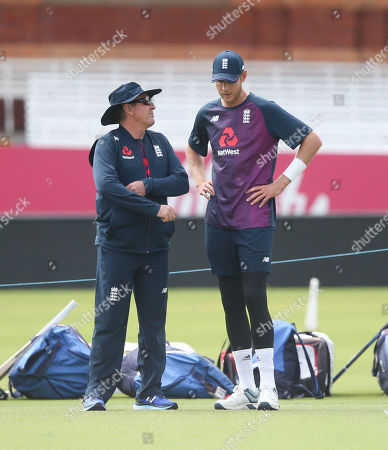Stock Picture of England's Stuart Broad with England Coach Trevor Baylis