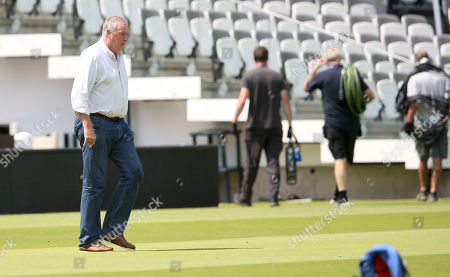 Angus Fraser  (England selector) walks out to the middle at Lord's to chat with England Coach Trevor Bayliss