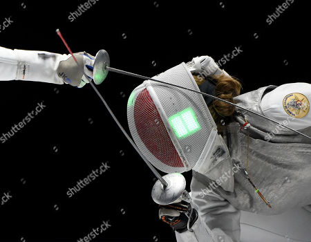 Nzingha Prescod (L) of the US fights against Ysaora Thibus of France during the US vs. France match for the third place of women's foil team competition of the FIE World Fencing Championships in Budapest, Hungary, 22 July 2019.