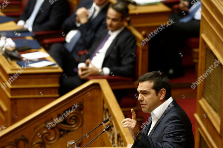 Leader of the greek main opposition party SYRIZA Alexis Tsipras delivers his speech, during a debate on the vote of confidence in the government, in the parliament's plenum, in Athens, Greece, 22 July 2019.