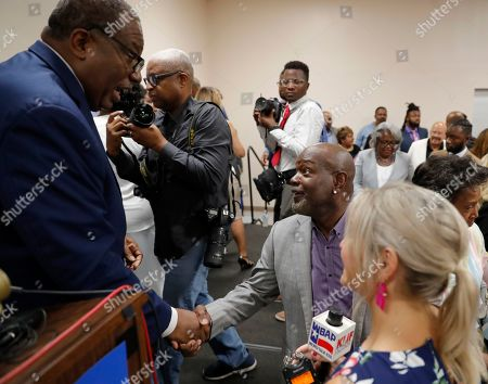 Royce West, Emmit Smith. State Senator Royce West greets former NFL player Emmitt Smith, center right, who attended the rally where West announced his bid to run for the US Senate during a rally in Dallas