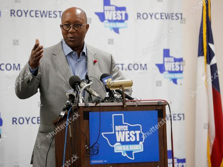 Ron Kirk makes comments during a rally where State Senator Royce West announced his bid to run for the US Senate during a rally in Dallas
