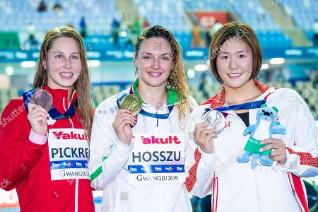 Katinka Hosszu, Sydney Pickrem and Ye Shiwen during Victory Ceremony