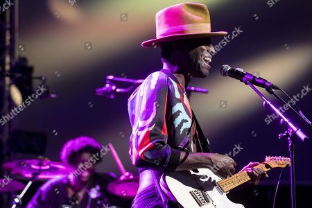 Stock Image of Keziah Jones performs on stage during a concert at the Blue Balls Festival in Lucerne, Switzerland, 22 July 2019. The music event runs from 19 to 27 July.