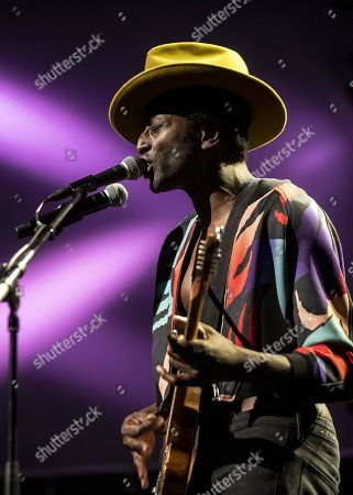 Stock Photo of Keziah Jones performs on stage during a concert at the Blue Balls Festival in Lucerne, Switzerland, 22 July 2019. The music event runs from 19 to 27 July.