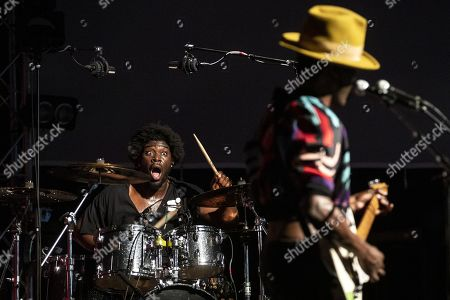 "British drummer Joshua ""Josh"" McKenzie (MckNasty) (L) performs next to Nigerian singer and guitarist Keziah Jones during a concert at the Blue Balls Festival in Lucerne, Switzerland, 22 July 2019. The music event runs from 19 to 27 July."