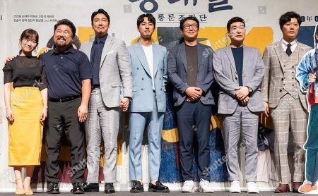 Stock Picture of South Korean actors Kim Seul-ki, Go Chang-seok, Cho Jin-woong, Yoon Bak, director Kim Joo-ho, Son Hyun-ju, Park Hee-soon