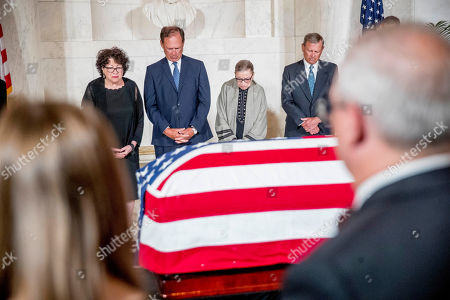 (L-R) Associate Justice Sonia Sotomayor, Associate Justice Samuel Alito, Associate Justice Ruth Bader Ginsburg, and Chief Justice John Roberts participates in a moment of silence during a private ceremony in the Great Hall of the Supreme Court where the late Supreme Court Justice John Paul Stevens lies in repose in Washington, DC, USA, 22 July 2019. Stevens, who sat on the court for more than 34 years from 1975 through 2010, died 16 July 2019 at age 99.