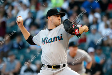 Miami Marlins starting pitcher Trevor Richards delivers during the first inning of a baseball game against the Chicago White Sox, in Chicago