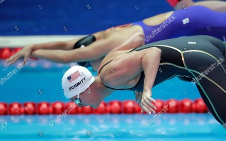 United States' swimmer Allison Schmitt starts in her heat of the women's 200m freestyle at the World Swimming Championships in Gwangju, South Korea