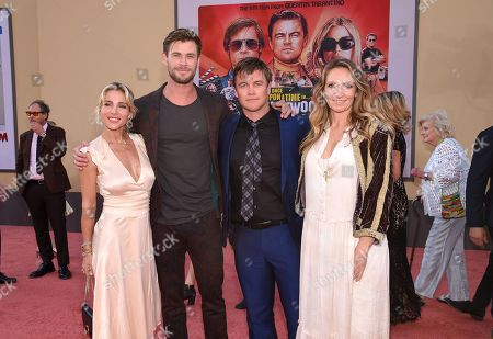 "Elsa Pataky, Chris Hemsworth, Luke Hemsworth and Samantha Hemsworth at the Premiere of Sony Pictures' ""Once Upon A Time In Hollywood"" at the TCL Chinese Theatre"