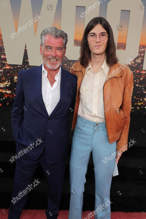 """Pierce Brosnan and Dylan Brosnan at the Premiere of Sony Pictures' """"Once Upon A Time In Hollywood"""" at the TCL Chinese Theatre."""