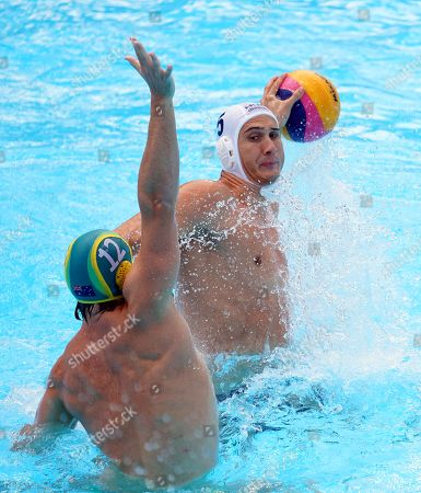Marton Vamos (R) of Hungary in action against Blake Edwards (L) of Australia during the men's Water Polo quarter final match between Hungary and Australia at the FINA Swimming World Championships 2019 in Gwangju, South Korea, 23 July 2019.