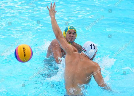 Stock Photo of Blake Edwards (L) of Australia in action against Bence Batori (R) of Hungary during the men's Water Polo quarter final match between Hungary and Australia at the FINA Swimming World Championships 2019 in Gwangju, South Korea, 23 July 2019.
