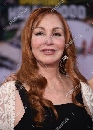 """Stock Image of Debra Tate, sister of Sharon Tate, arrives at the Los Angeles premiere of """"Once Upon a Time in Hollywood"""" at the TCL Chinese Theatre on"""