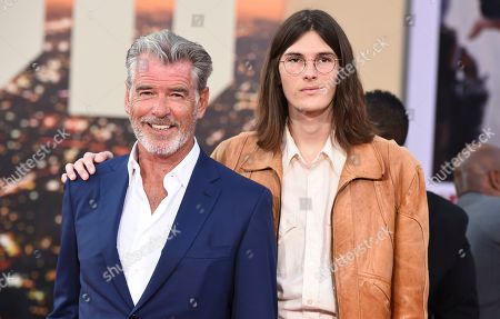 """Pierce Brosnan, Dylan Brosnan. Pierce Brosnan and Dylan Brosnan arrive at the Los Angeles premiere of """"Once Upon a Time in Hollywood"""" at the TCL Chinese Theatre on"""