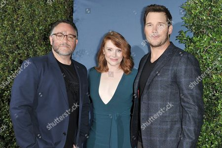 "Colin Trevorrow, Bryce Dallas Howard, Chris Pratt. Colin Trevorrow, from left, Bryce Dallas Howard, left, and Chris Pratt attend ""Jurassic World: The Ride"" grand opening celebration at Universal Studios, in Universal City, Calif"