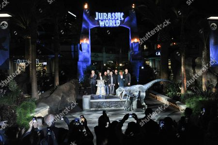 "Colin Trevorrow, Bryce Dallas Howard, Chris Pratt. Chris Pratt, from right, Bryce Dallas Howard, Colin Trevorrow and others attend ""Jurassic World: The Ride"" grand opening celebration at Universal Studios, in Universal City, Calif"