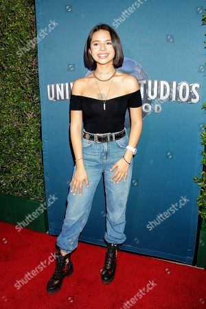 Angela Aguilar arrives for the grand opening celebration of Universal Studios Hollywood's 'Jurassic World: The Ride' in Universal City, California, USA, 22 July 2019.