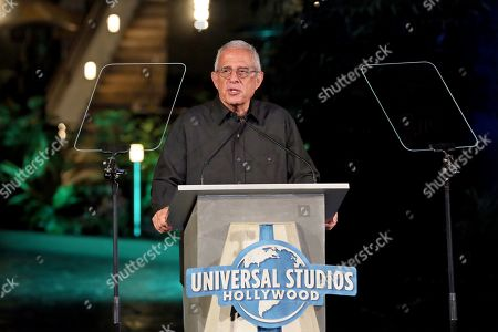 Vice Chairman of NBCUniversal Ron Meyer talks to the crowd during the grand opening celebration of Universal Studios Hollywood's 'Jurassic World: The Ride' in Universal City, California, USA, 22 July 2019.