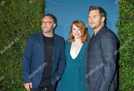 Colin Trevorrow and actors Bryce Dallas Howard and Chris Pratt arrive for the grand opening celebration of Universal Studios Hollywood's 'Jurassic World: The Ride' in Universal City, California, USA, 22 July 2019