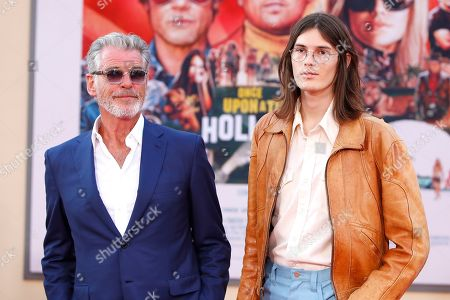 Pierce Brosnan and his son Dylan Brosnan (R) arrive for the premiere of 'Once Upon a Time in Hollywood' at the TCL Chinese Theatre IMAX in Hollywood, Los Angeles, California, USA, 22 July 2019. The movie opens in the US on 26 July.