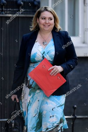 Stock Photo of Britain's Secretary of State for Northern Ireland Karen Bradley arrives for a cabinet meeting in 10 Downing Street, Central London, Britain, 23 July 2019. The conclusion of the Conservative party leadership contest between Boris Johnson and Jeremy Hunt will be announced later in the day with the winner replacing Theresa May as British Prime Minister.