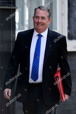 Britain's Secretary of State for International Trade and President of the Board of Trade Liam Fox arrives for a cabinet meeting in 10 Downing Street, Central London, Britain, 23 July 2019. The conclusion of the Conservative party leadership contest between Boris Johnson and Jeremy Hunt will be announced later in the day with the winner replacing Theresa May as British Prime Minister.