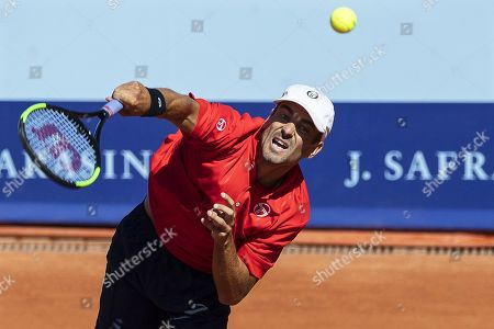 Tommy Robredo of Spain in action against Gian Marco Moroni of Italy during their first round match of the Swiss Open tennis tournament in Gstaad, Switzerland, 23 July 2019.